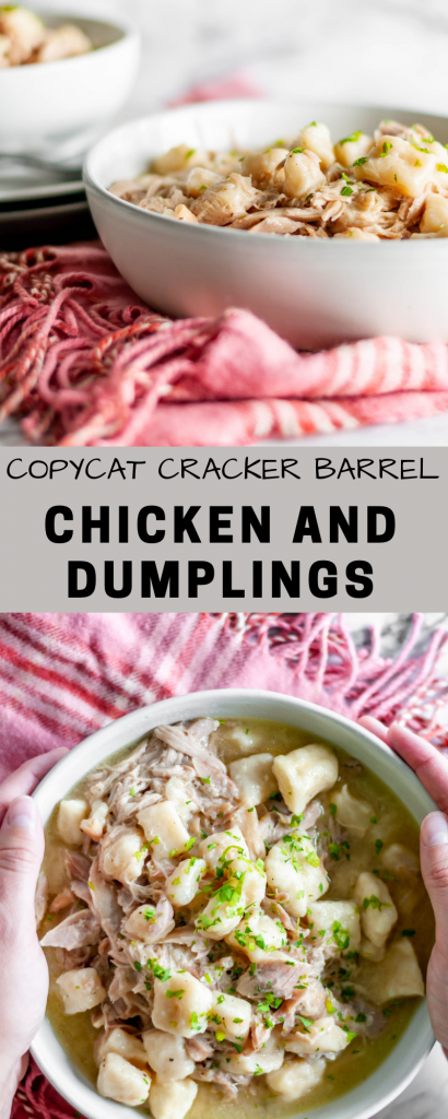 Copycat Cracker Barrel Chicken and Dumplings is the perfect comfort food meal when the weather is chilly and you're craving some cozy comfort.
