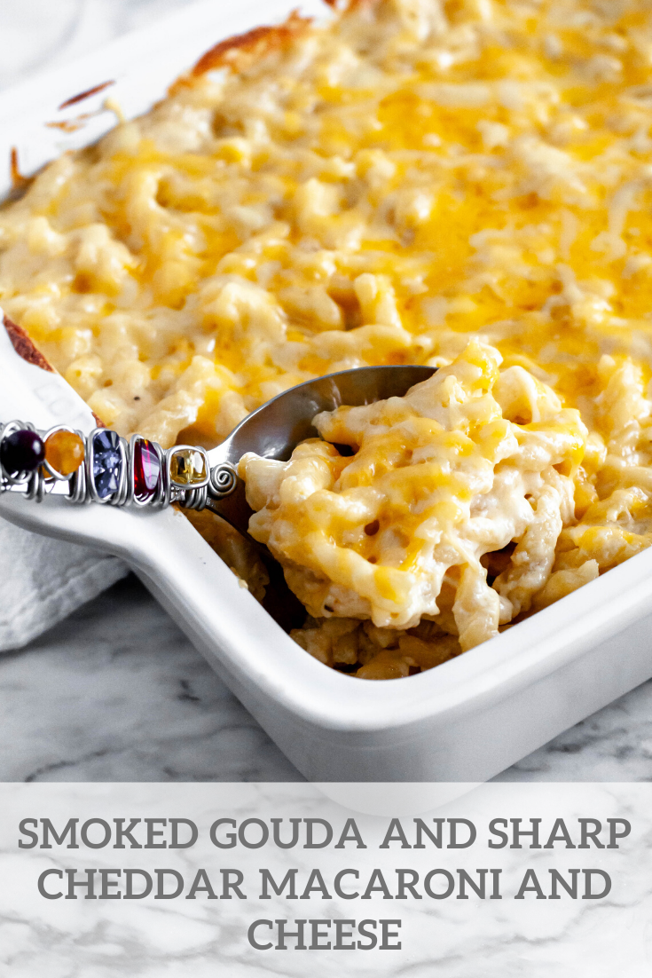 This creamy Smoked Gouda and Sharp Cheddar Macaroni and Cheese is the ultimate pasta dish. Just what your holiday table needs.