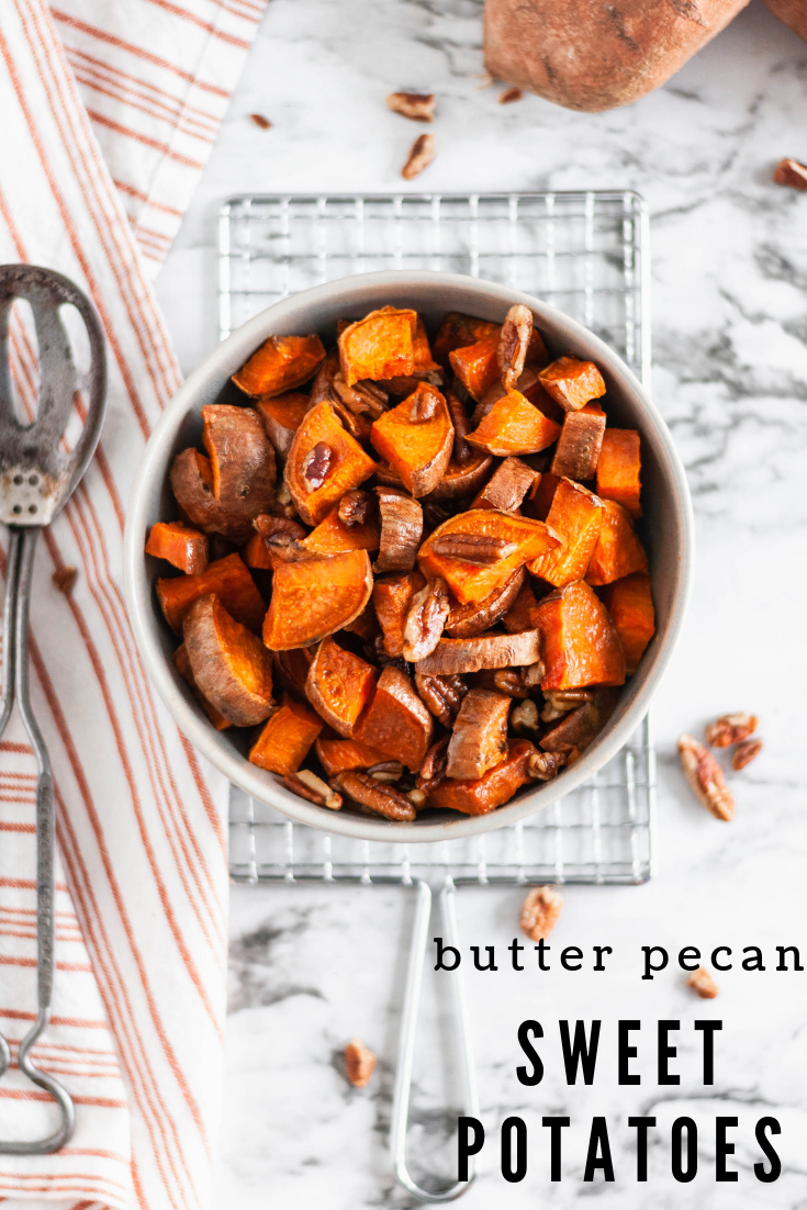 These Butter Pecan Sweet Potatoes are the perfect simple and easy side dish to add to your holiday menu. Less than 40 minutes from start to finish and you'll have sweet, tender, crunchy, buttery goodness on your dinner table.