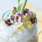 Celebrate St. Patrick's Day with this Lucky Charms Milkshake. Chocolate, cereal and lots of whipped cream of course.