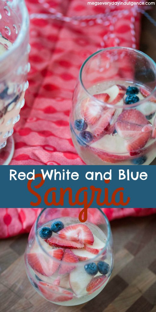 Make the 4th of July even more festive with this Red White and Blue Sangria. Strawberries, blueberries, peaches, white wine and sparkling lemonade all combine to create a delicious, refreshing drink that screams America.
