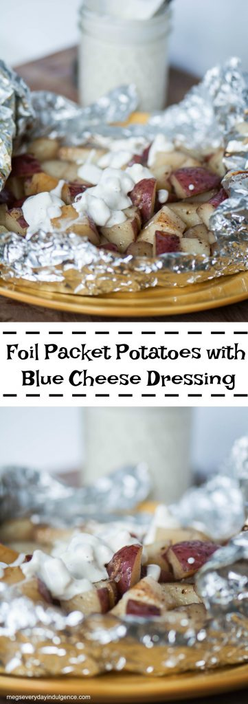 Put a fun spin on a simple side dish with these Foil Packet Potatoes with Blue Cheese Dressing. Minimal preparation and clean up make these a breeze.
