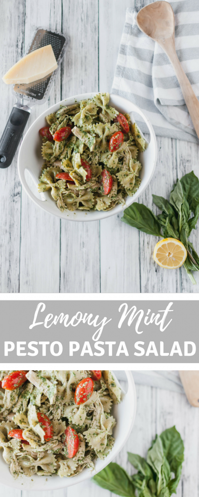 Lemony Mint Pesto Pasta Salad