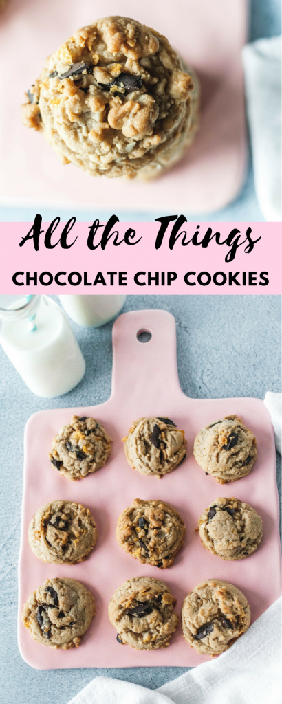 If you're looking for a sweet, salty, chewy, slightly crunchy dessert I've got you covered with these All the Things Chocolate Chip Cookies. They are packed with all kinds of goodies that will satisfy that sweet and salty craving.