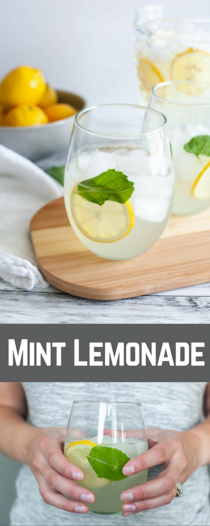 Mint Lemonade is so refreshing on a hot summer day. Tart, slightly sweet with a hint of mint.