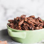 Cinnamon Sugar Pecans are a lovely sweet treat. Warm cinnamon and brown sugar caramelize over toasted pecans to make a great snack or dessert. Perfect for your Christmas baking.