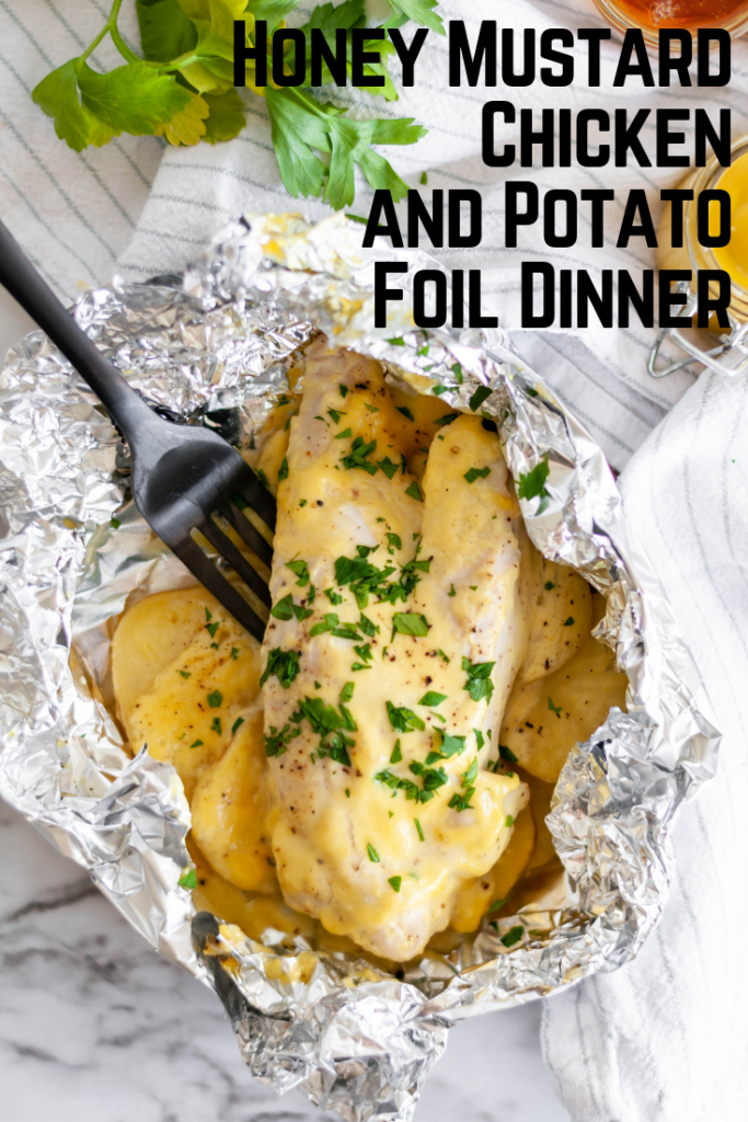 Honey Mustard Chicken and Potato Foil Packs require only 5 ingredients and 30 minutes. Super simple weeknight dinner the whole family will love.