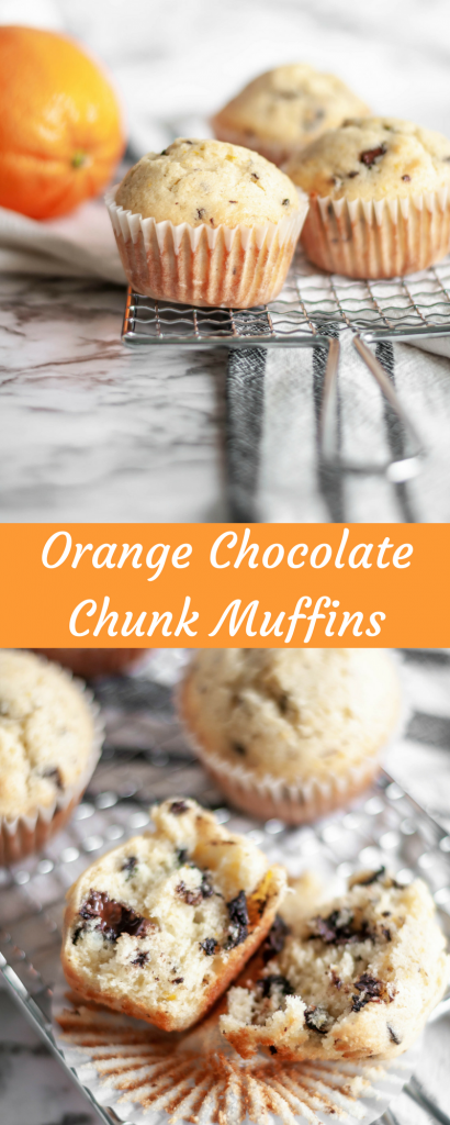 Orange Chocolate Chunk Muffins are light and fluffy and dotted with dark chocolate chunks and sweet orange zest.