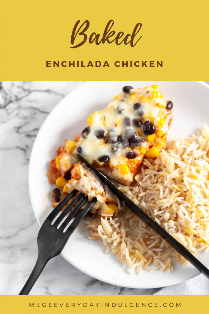 Baked Enchilada Chicken is a great addition to your 30 minute meal collection. Chicken breasts covered in enchilada sauce, corn, black beans and cheese makes a simple and healthy weeknight meal.