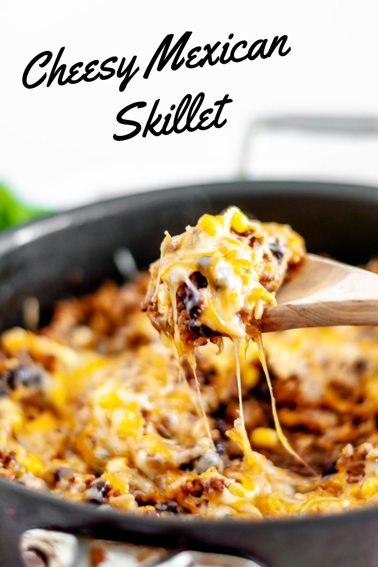 This Cheesy Mexican Skillet is done in 30 minutes for the perfect weeknight meal. Packed full of Mexican flavors, rice, ground beef, corn and black beans.