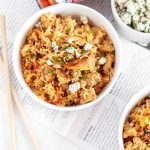 A fun spin on a Chinese classic, this Buffalo Fried Rice is filled with spicy chicken, tender rice, and creamy blue cheese.