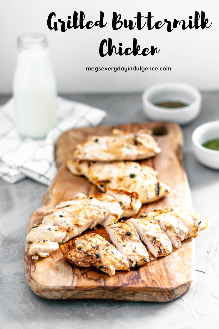 Grilled Buttermilk Chicken is super easy to prepare with a handful of ingredients. Simple grilled chicken, tender from the buttermilk marinade. Great on its own or atop a salad.