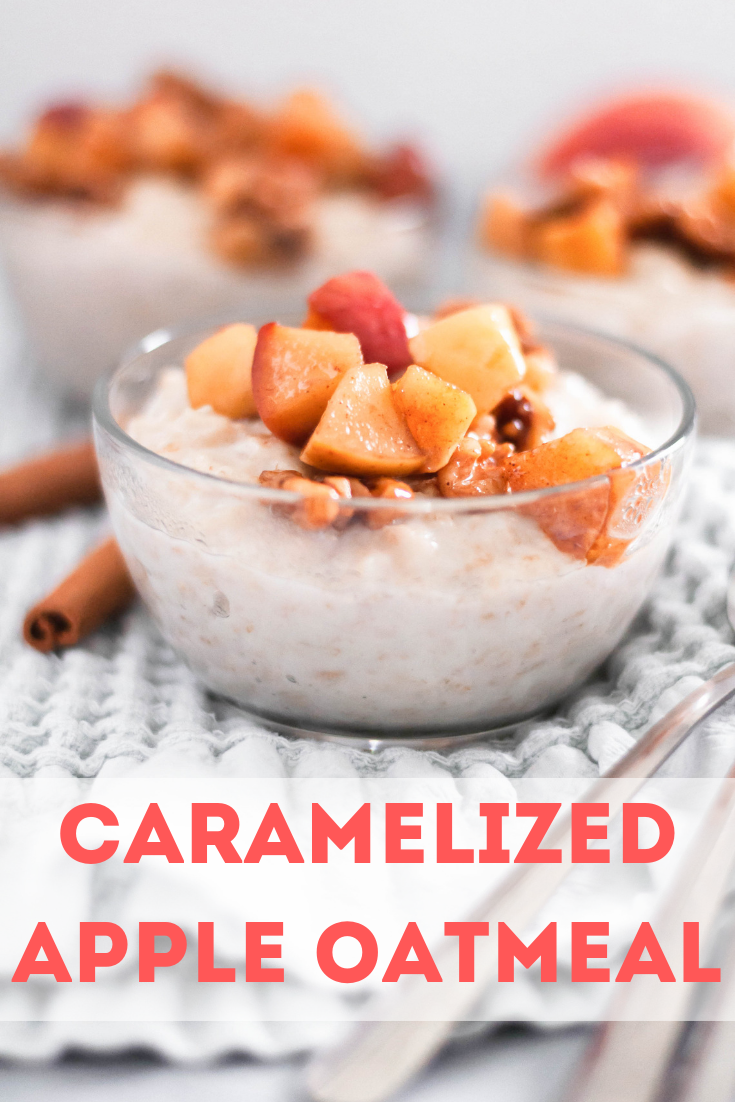 Jazz up your daily oatmeal and make this Caramelized Apple Oatmeal. Chunks of apple and walnuts are caramelized in butter and brown sugar to golden perfection. Served over creamy oatmeal for the perfect balance of sweetness.