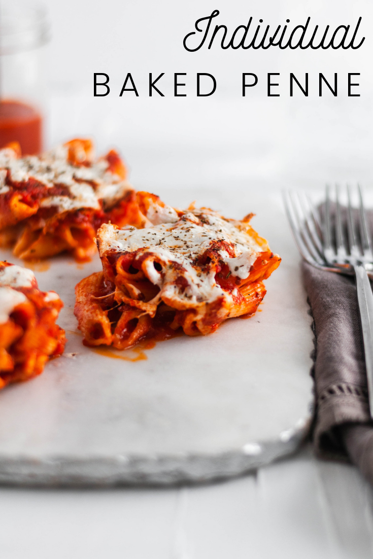 These Individual Baked Penne are SO simple and fun for a weeknight meal. Only 4 ingredients and 30 minutes required for these cute little bites.