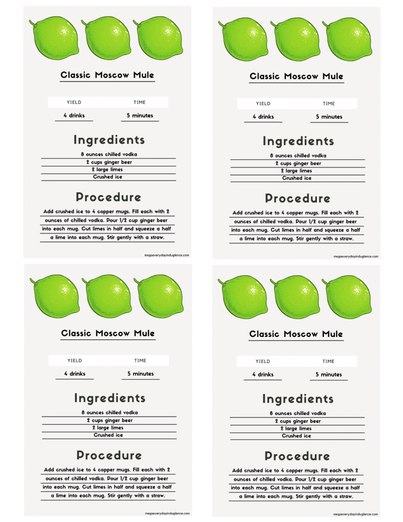 Free Moscow Mule Recipe Card printable