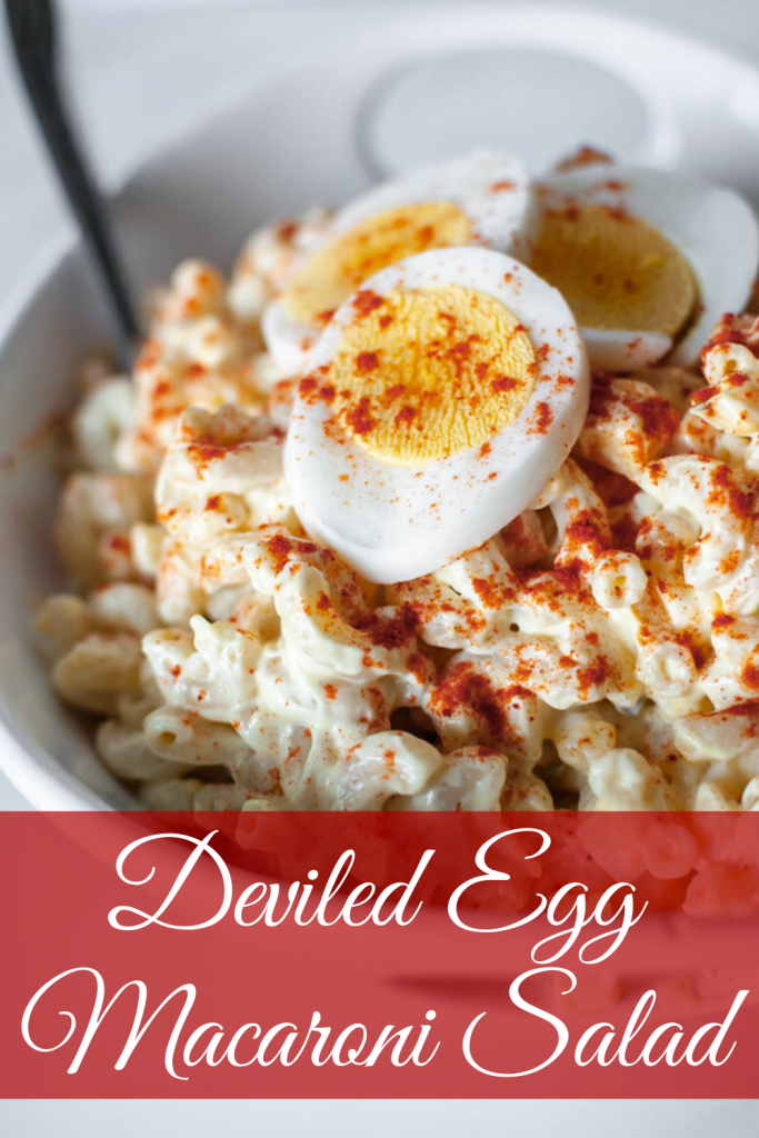 This Deviled Egg Macaroni Salad is perfect for all your summer gatherings. It's creamy, loaded with hard-boiled eggs and super easy to make.