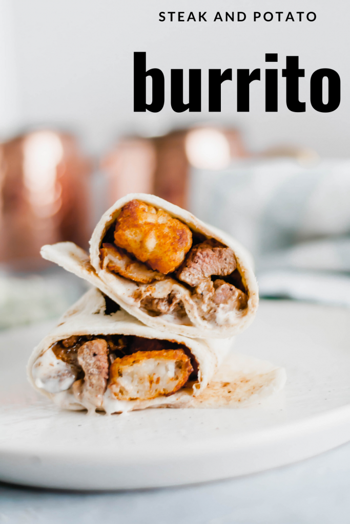 This Steak and Potato Burrito is stuffed with tender seared steak, crispy tater tots, blue cheese dressing and a drizzle of steak sauce. The perfect meal any time of the day.