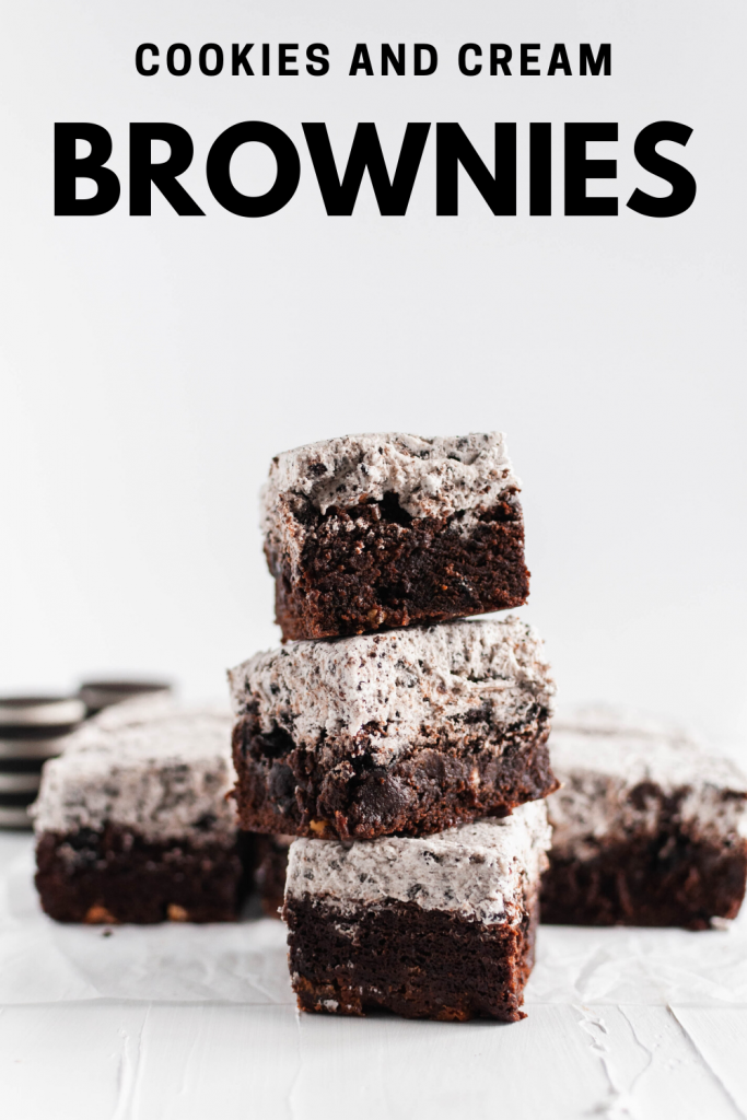 These dense, rich Cookies and Cream Brownies are the ultimate chocolate dessert. Thick, cookie studded brownies with cookies and cream buttercream.