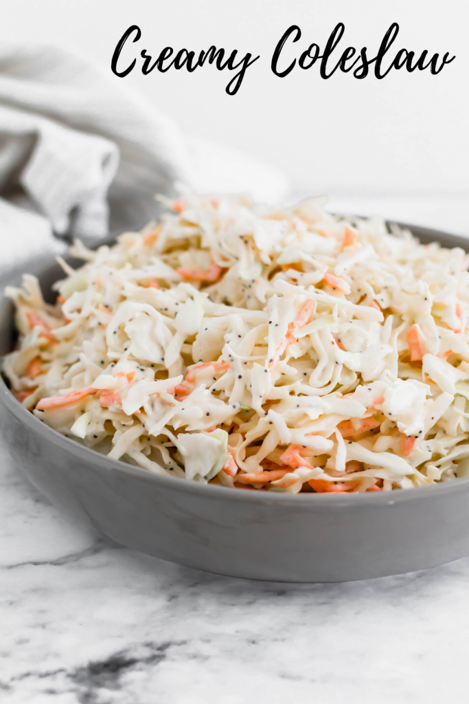 This Creamy Coleslaw is perfect for weeknights, holidays, potlucks and so much more. Made with coleslaw mix and pantry and refrigerator staples.