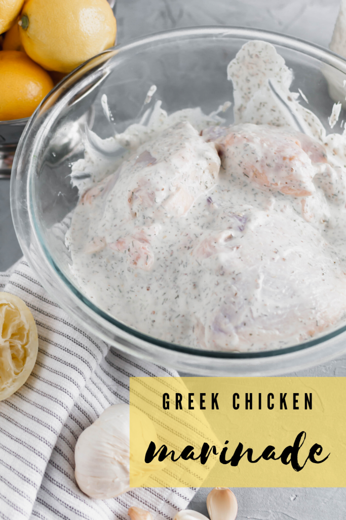 Whip up a batch of Greek Chicken Marinade in minutes for the most flavorful chicken on the grill. Packed with lemon, dill, oregano and garlic.
