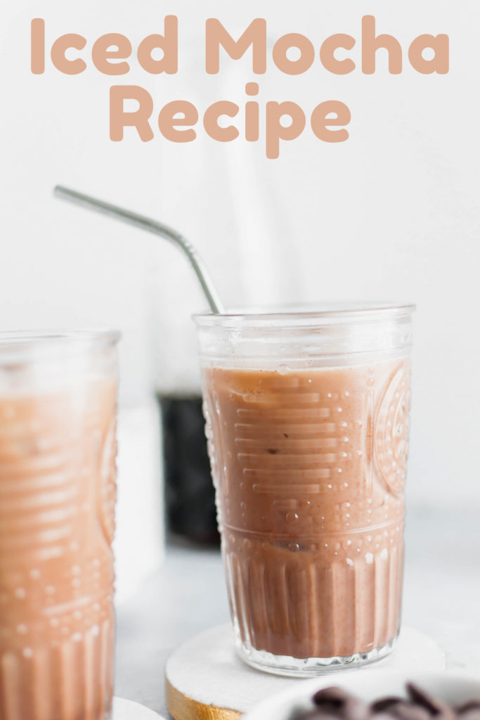 Close up of homemade iced mocha recipe with metal straw. Missing your favorite coffee shop? Try making a classic at home with this Iced Mocha Recipe. Only three ingredients required!