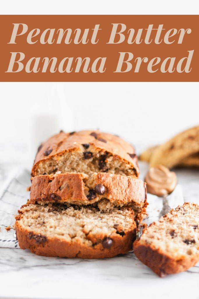 Rich Peanut Butter Banana Bread is perfect way to use up those bananas hanging out on your counter. The ultimate comfort food. Dotted with gooey chocolate chips, it is totally irresistible.