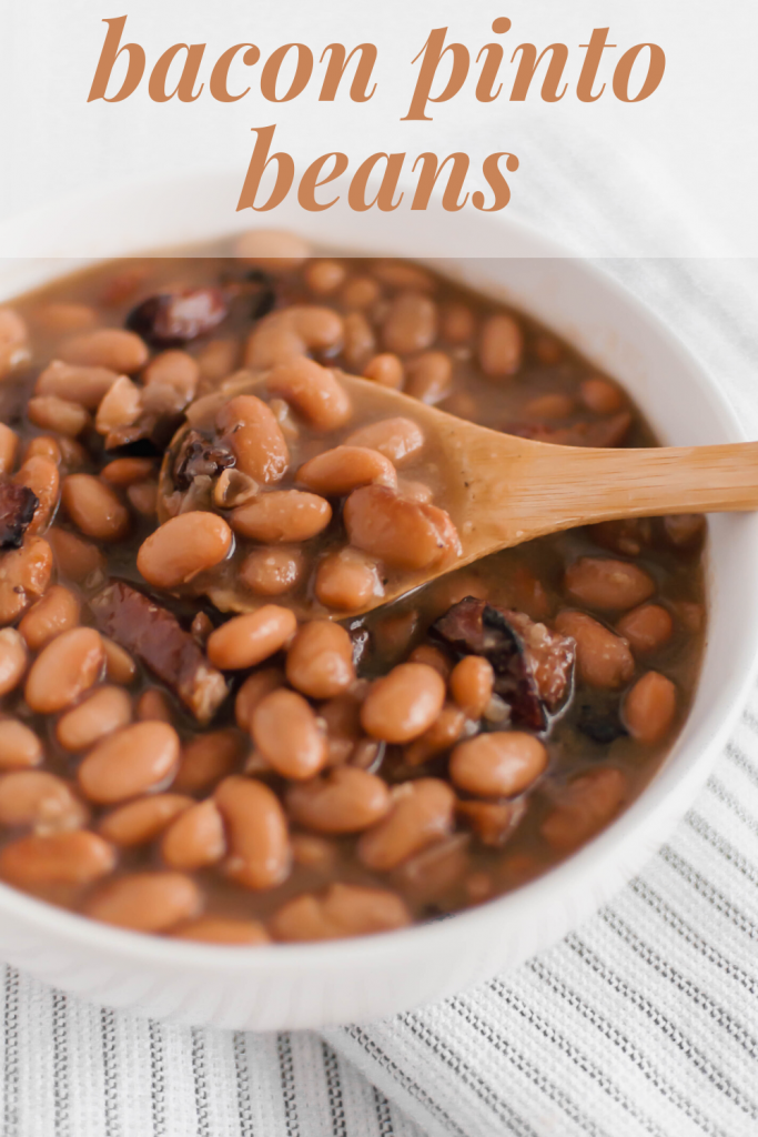 If you love Chipotle's pinto beans, look no further because now you can make them at home. Dried pinto beans cook all day in the slow cooker with bacon, onion and garlic to make these flavorful Bacon Pinto Beans. Perfect for rice bowls, nacho night or even on their own.