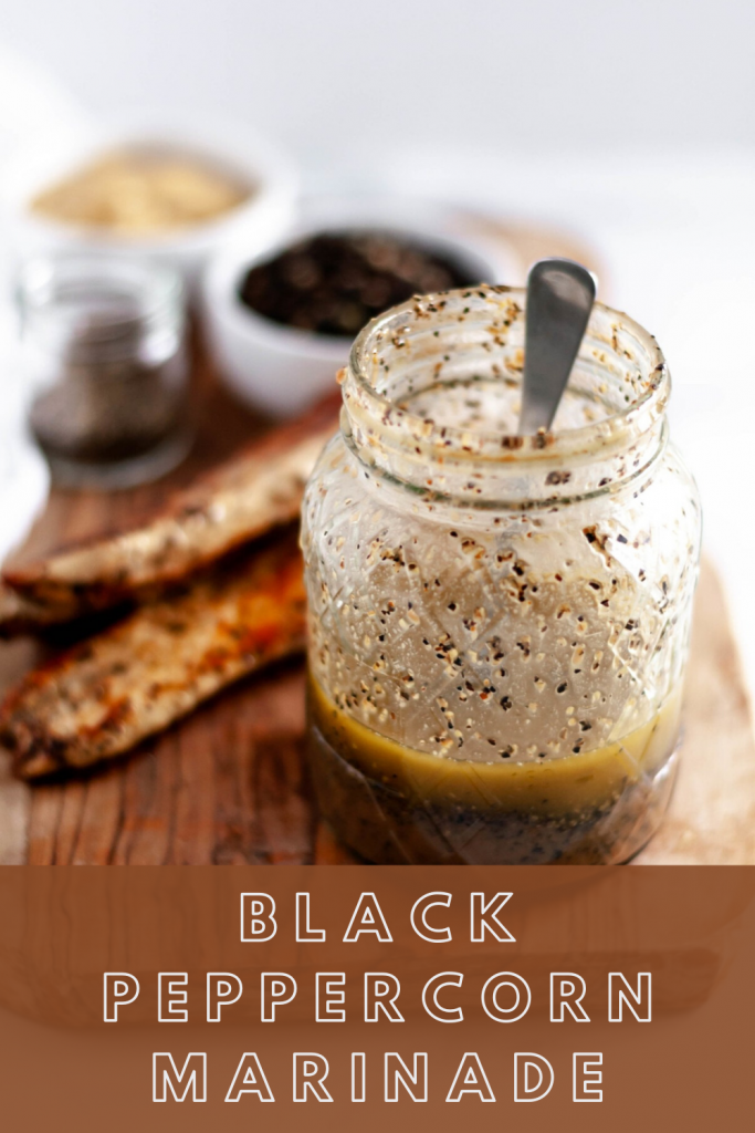 This super simple black peppercorn marinade will bring all the flavor to your chicken, beef, pork and veggies. Keep it on hand all summer long.