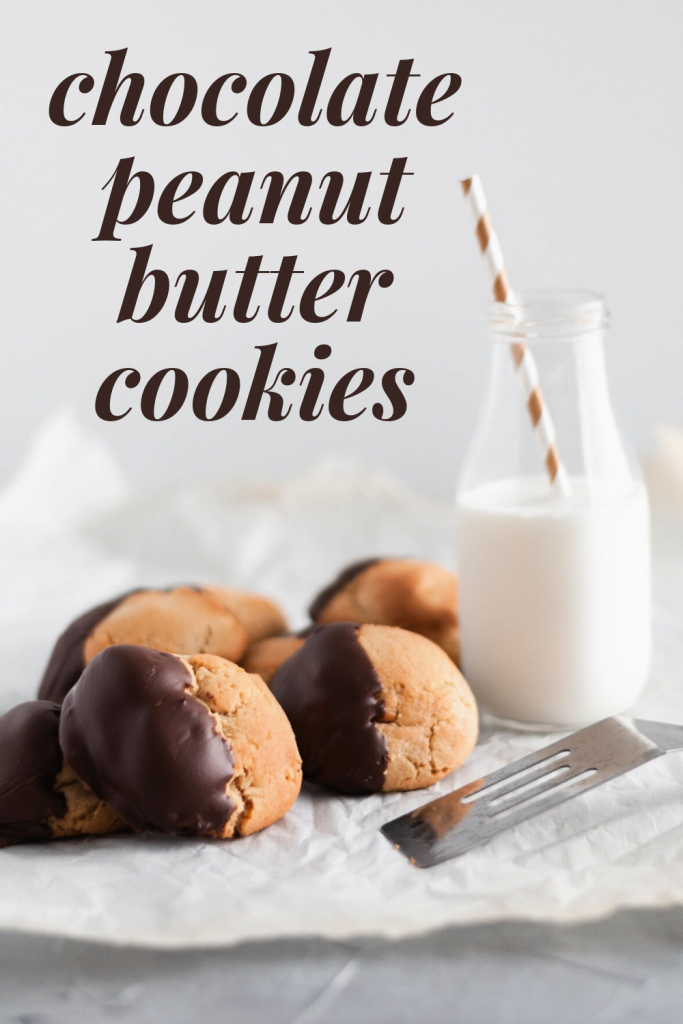 These giant Chocolate Peanut Butter Cookies are perfect for your Christmas cookie baking or any day of the week. Rich, chewy peanut butter cookies dipped in melted chocolate make the perfect sweet treat.