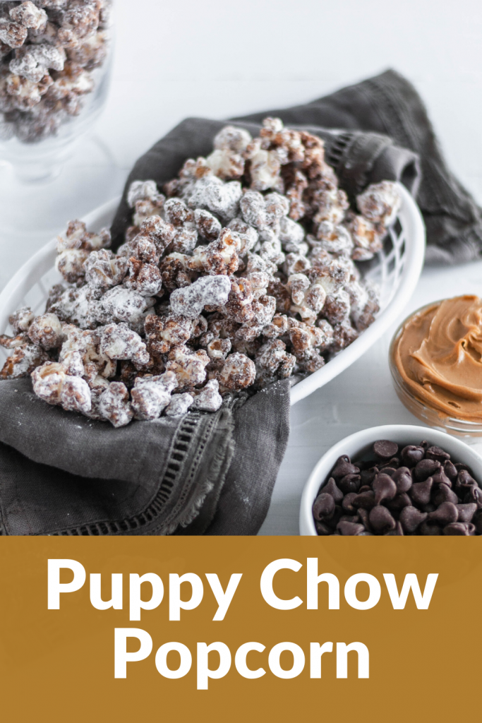 Up your movie night snacking game with this Puppy Chow Popcorn. Melted chocolate and peanut butter drizzled over popcorn and tossed with powdered sugar for the ultimate sweet treat.