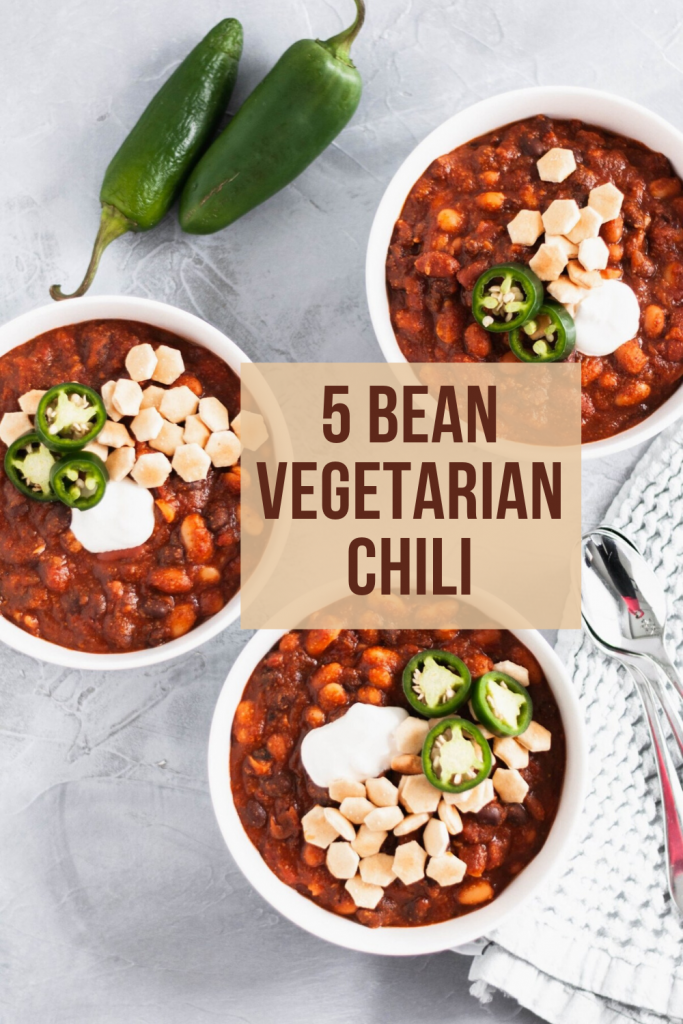 Whip up a batch of this 5 Bean Vegetarian Chili for your next gathering. Great for football watch parties, chilly fall days and weeknights alike.