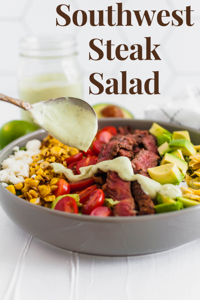 This Southwest Steak Salad is the ultimate summer salad. Packed with grilled steak rubbed with delicious southwest spices, charred corn, avocado, crumbled queso fresco, tomatoes and crushed tortilla chips.