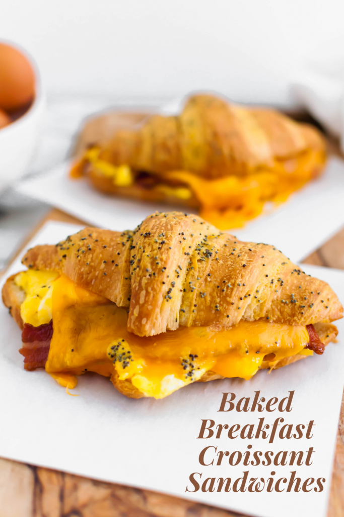 These Baked Breakfast Croissant Sandwiches start with a buttery, flaky croissants and are filled with scrambled eggs, crisp bacon and melted cheddar cheese to create a delicious hand held breakfast to enjoy at home or on the go.