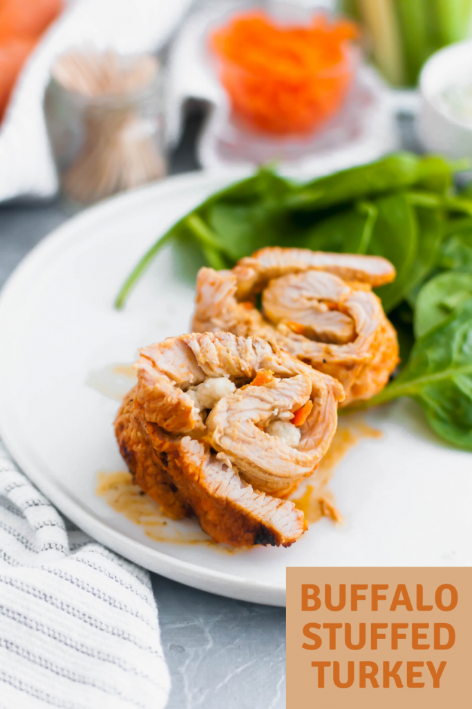 This Buffalo Stuffed Turkey is the ultimate summer dinner. Thin turkey cutlets stuffed with a buffalo sauce spiked cream cheese and blue cheese, rolled and grilled to juicy perfection.