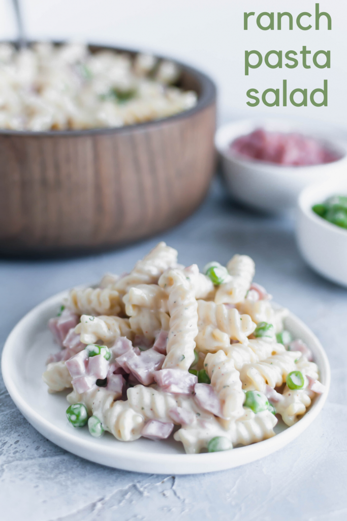 This Ranch Pasta Salad is the perfect summer side dish. Done in minutes, packed with delicious ranch flavor and a major crowd pleaser.