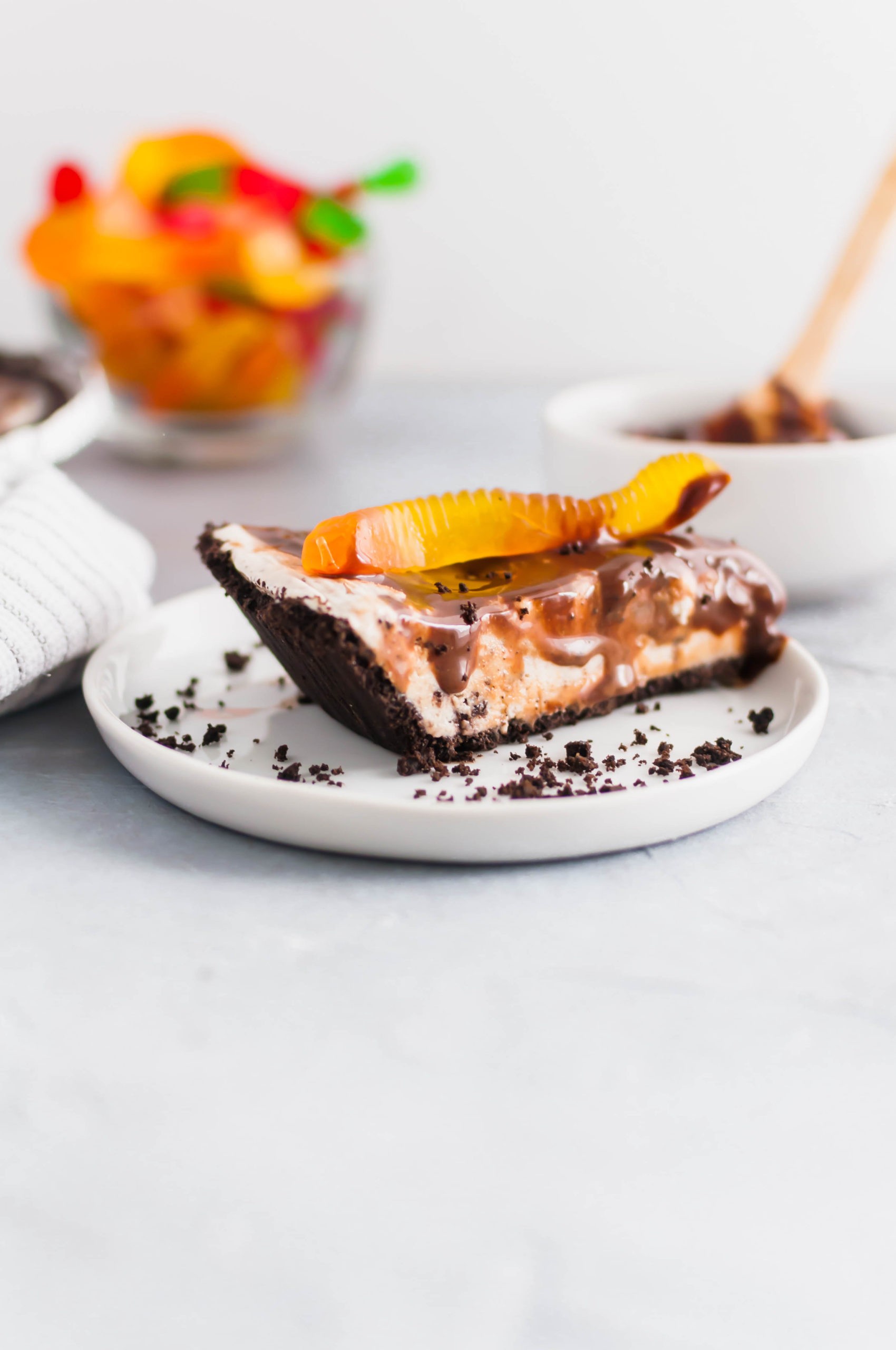 Dirt and Worms Ice Cream Pie is a fun way to treat the kids on these hot summer days. Cookies and cream ice cream, hot fudge and gummy worms with an Oreo crust make up this super fun dessert.