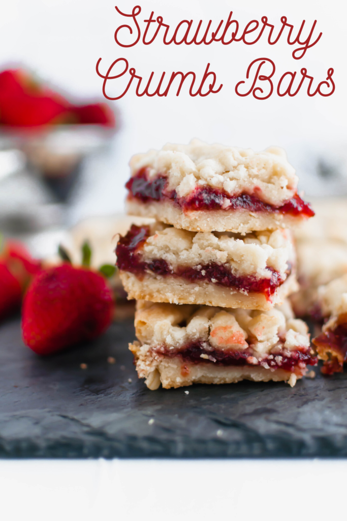 These Strawberry Crumb Bars are an amazing summer dessert. The simple shortbread crust also doubles as the crumble on top. Old-fashioned oats add a delicious chewy texture to the crust.