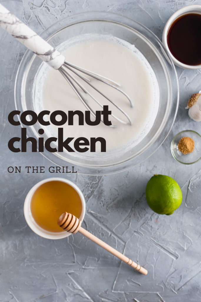 Need some tropical vibes in your life?! This Grilled Coconut Chicken will transport your mind to the beach. Simple, healthy and packed with coconut flavor.