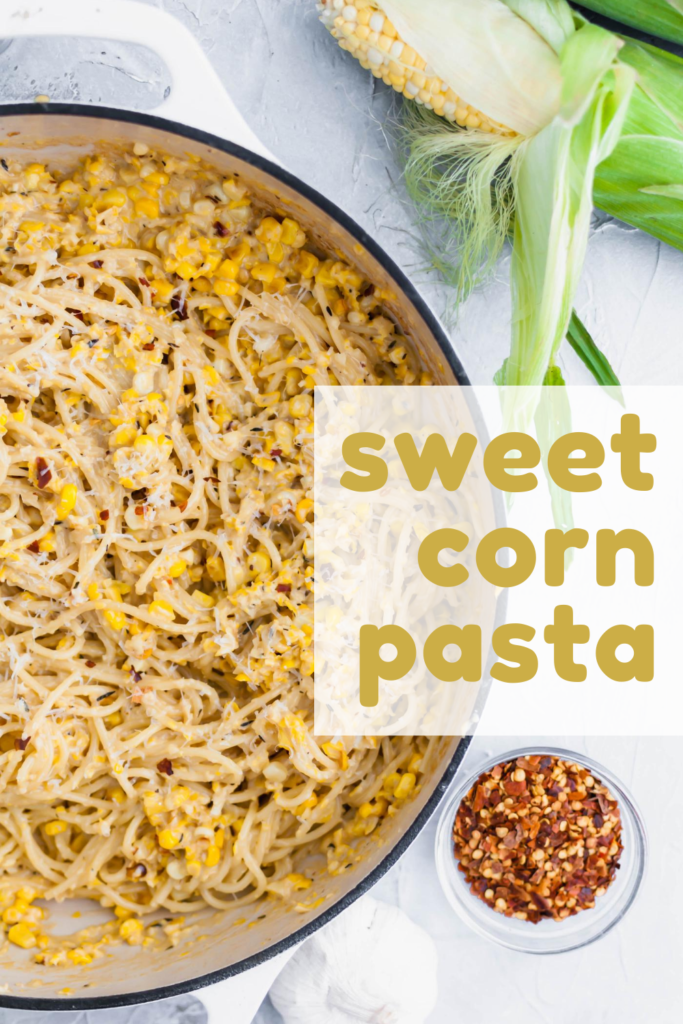 Put all the delicious in season sweet corn to use in this Sweet Corn Pasta. This fun play on alfredo sauce is sure to please the whole family. Done in less than 30 minutes using super simple, easy to find ingredients. Using fresh, local sweet corn is the best for this recipe.