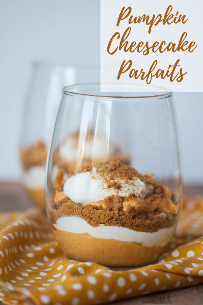 A simple pumpkin cheesecake filling, homemade whipped cream and crushed gingersnaps combine to create these delicious and simple Pumpkin Cheesecake Parfaits. The perfect way to celebrate the arrival of fall.