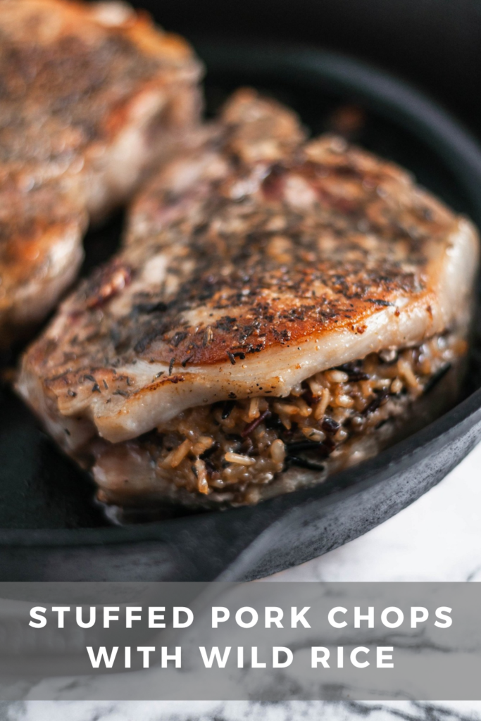 We're getting a little fancy here today but no worries, as always the recipe involves just a handful of easy to find ingredients. These Stuffed Pork Chops with Wild Rice are easy enough for a weeknight but dressed up enough for guests.