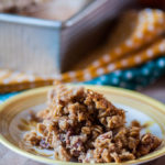 Baked Pumpkin Oatmeal with Streusel is a warm hearty way to start your morning this fall. It's filled with pumpkin, cinnamon, nutmeg and all those warm, delicious fall flavors then topped with a simple streusel.
