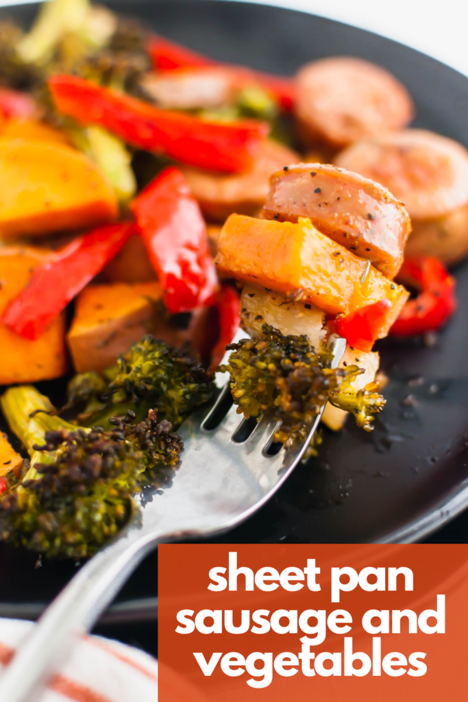 Looking for an easy weeknight meal?! This Sheet Pan Sausage and Vegetables is simple to prepare and done in less than 30 minutes.