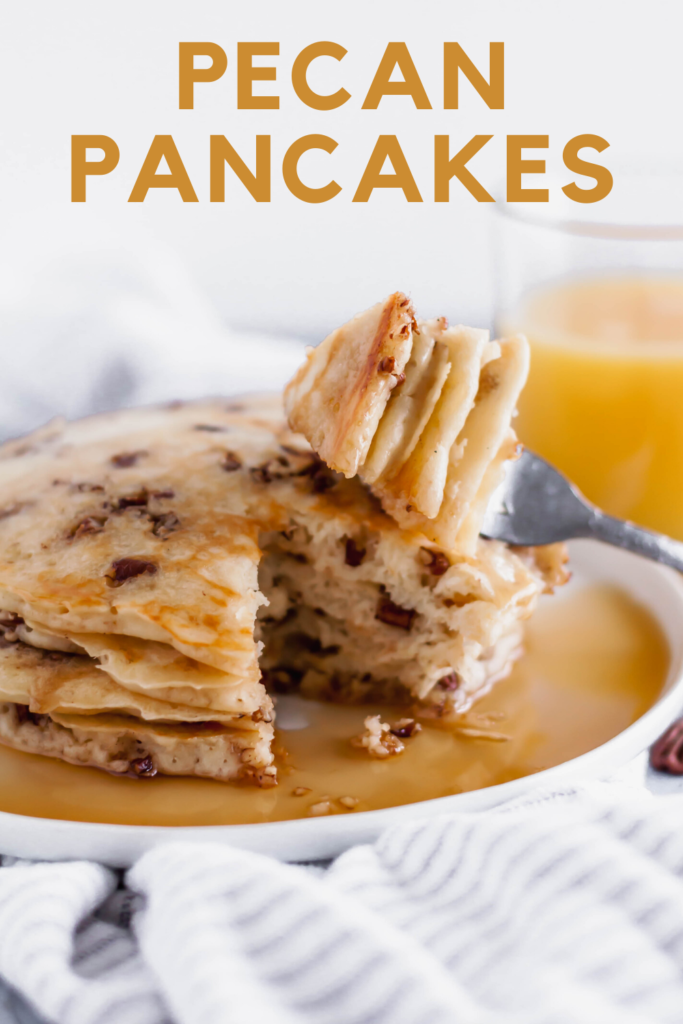 These Pecan Pancakes are the perfect combination of fluffy and crunchy. Rich, buttery toasted pecans tossed in my favorite pancake batter makes the most delicious Saturday morning breakfast.