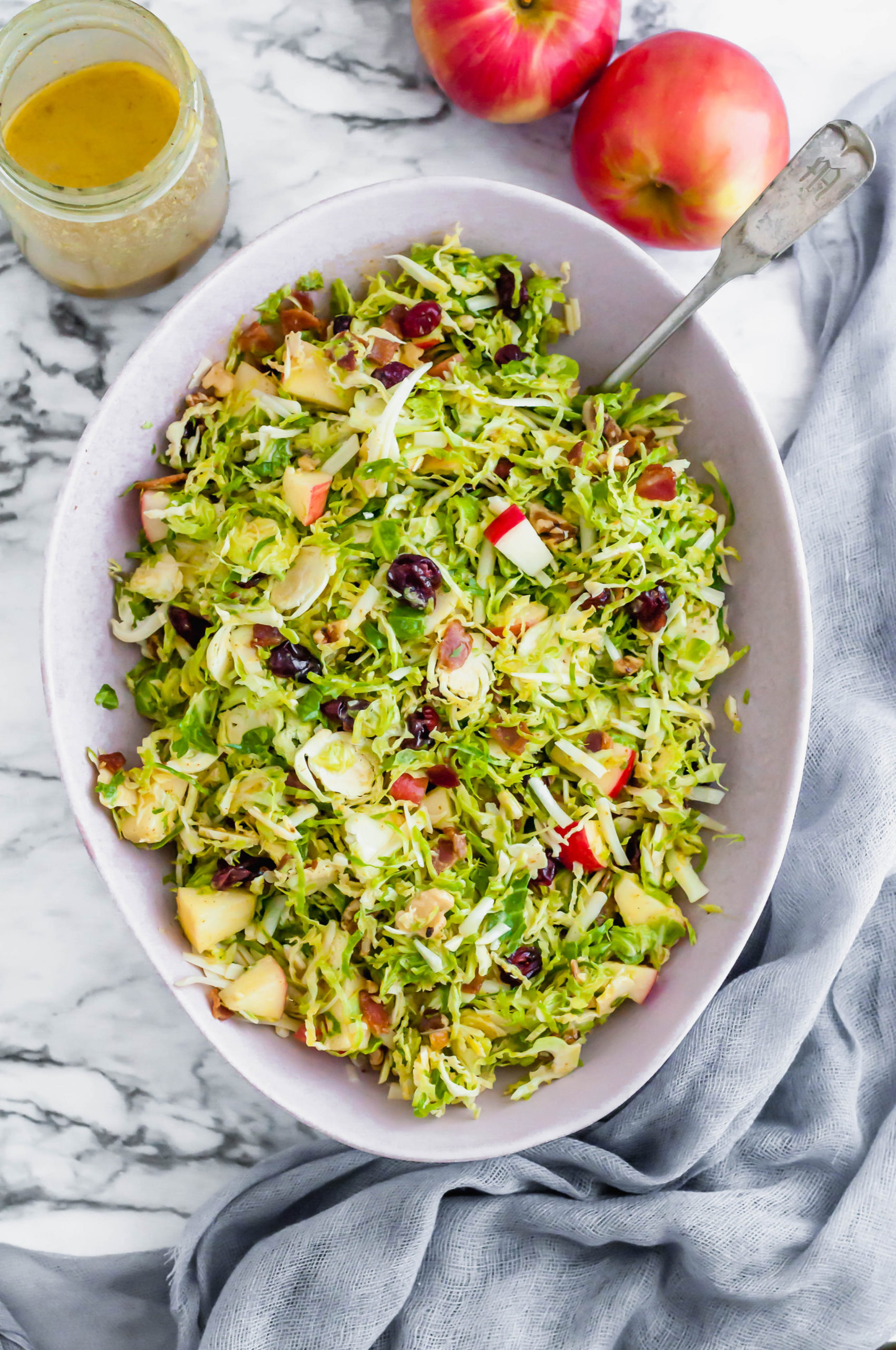 This Shaved Brussels Sprouts Salad is the perfect addition to your Thanksgiving table. It's bringing all the fresh fall vibes.