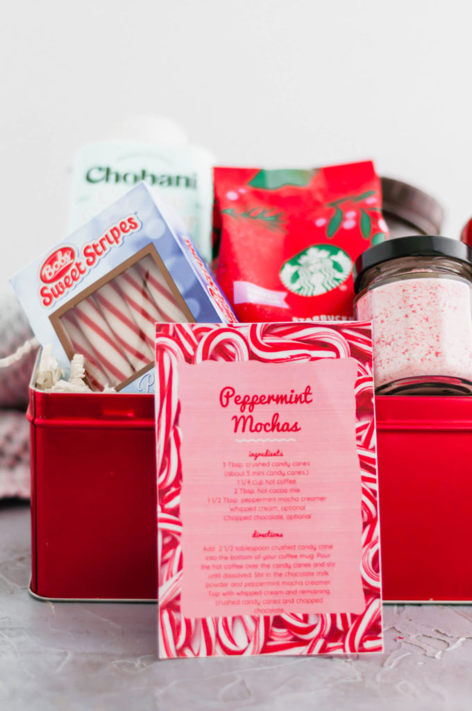 Looking for a fun, festive gift for a coffee lover in your life?! This Peppermint Mocha Kit is simple to put together and totally unique. Grab your favorite ground coffee, crushed candy canes, hot cocoa mix, peppermint mocha creamer and candy canes.