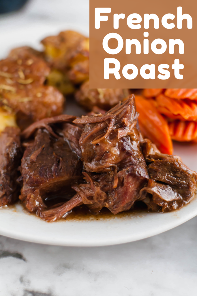 Slow Cooker French Onion Roast is simple yet full of flavor. Perfect comfort food on a chilly winter night. Simple ingredients slow cook all day to make the richest, most delicious pot roast.