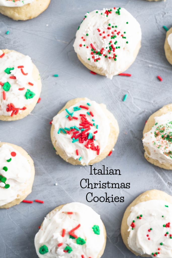 These Italian Christmas cookies are the most tender, fluffy cookie around. With a cake-like texture and a not too sweet buttercream frosting, these are the perfect Christmas cookie. Decorate with festive sprinkles to make them extra fun.