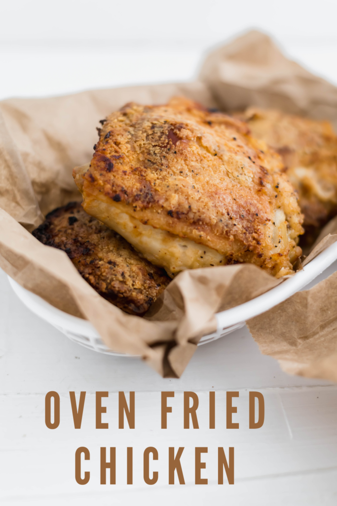 Love fried chicken but hate frying food at home?! This Oven Fried Chicken is perfeclty crispy, juicy and super flavorful. Perfectly spiced and super tender from a buttermilk marinade.