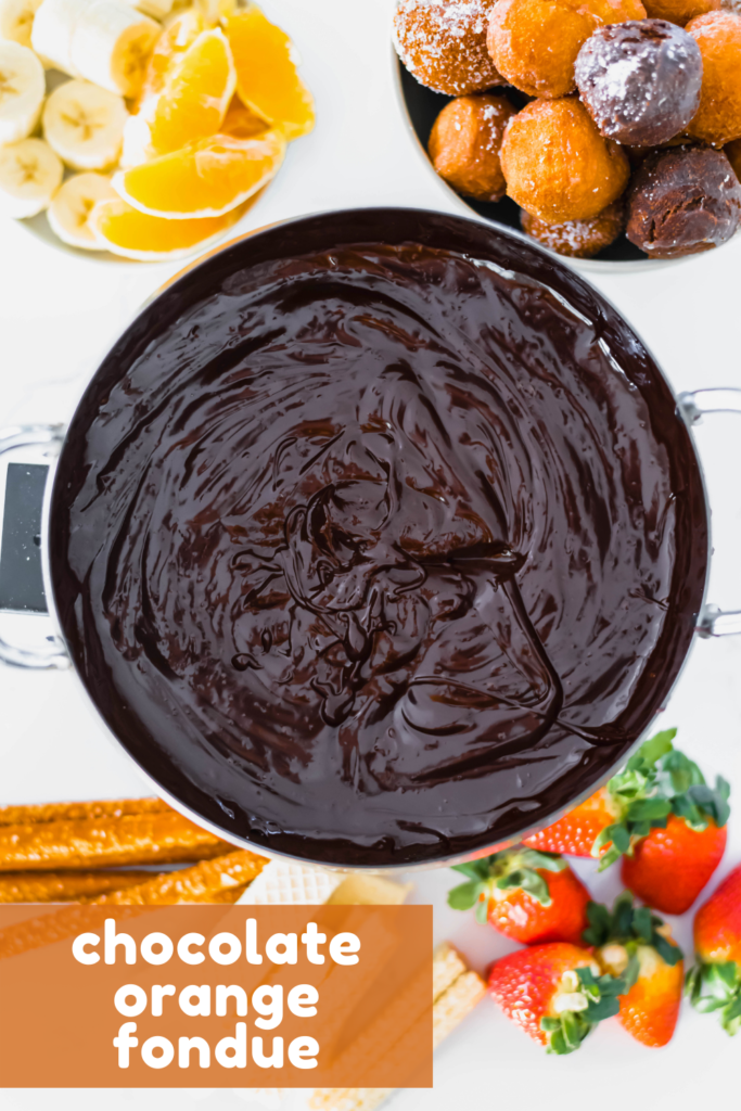 Serve Chocolate Orange Fondue, a fun twist on the classic chocolate fondue, for Valentine's Day dessert. Prepared in minutes with the perfect chocolate orange flavor combo.